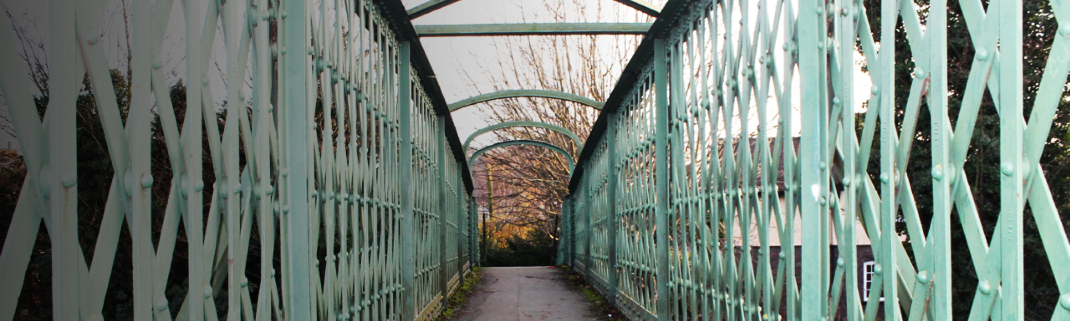 Foot bridge over the railway facing New Road
